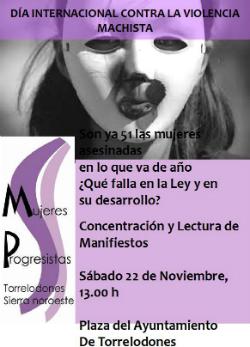 Concentración y lectura de manifiestos en Torrelodones con motivo del día mundial de la violencia de género