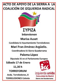 Acto de apoyo de IU de la Sierra a Syriza en las elecciones generales en Grecia
