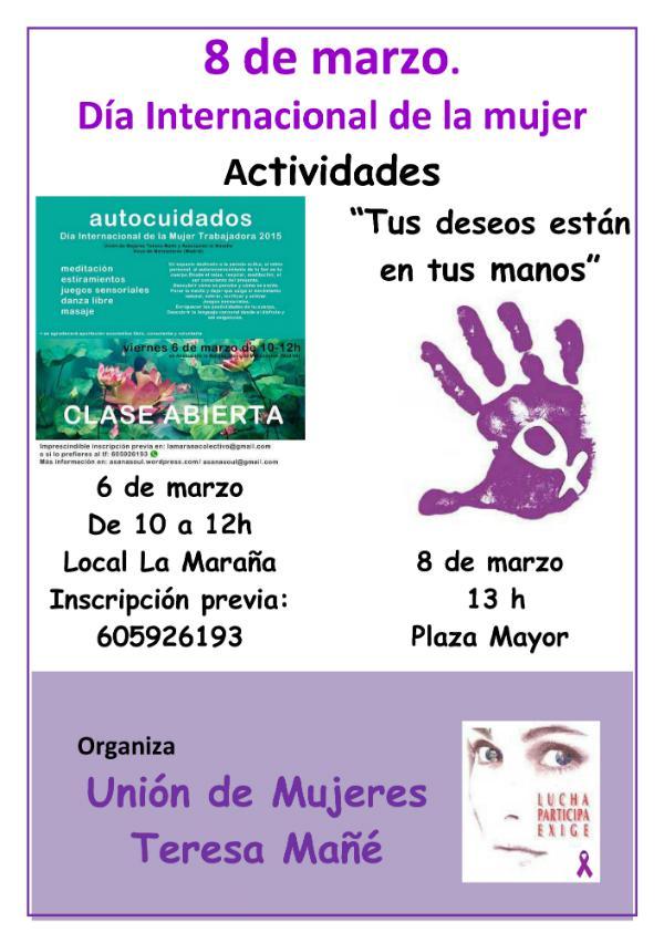La Unión de Mujeres invita a dos actividades para celebrar el 8 de Marzo