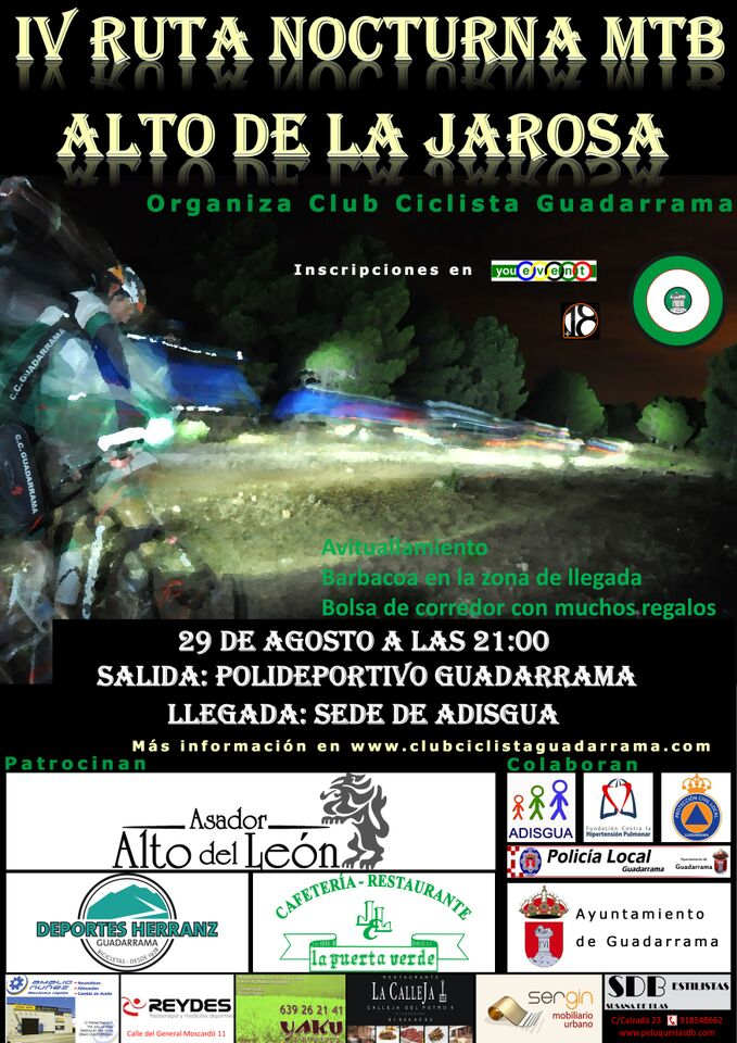 El club ciclista Guadarrama abre el período de inscripción para su IV Ruta Nocturna MTB