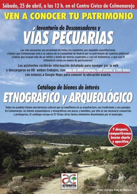 Alternativa por Colmenarejo presentará a los vecinos sus trabajos sobre el Patrimonio natural y cultural del municipio.