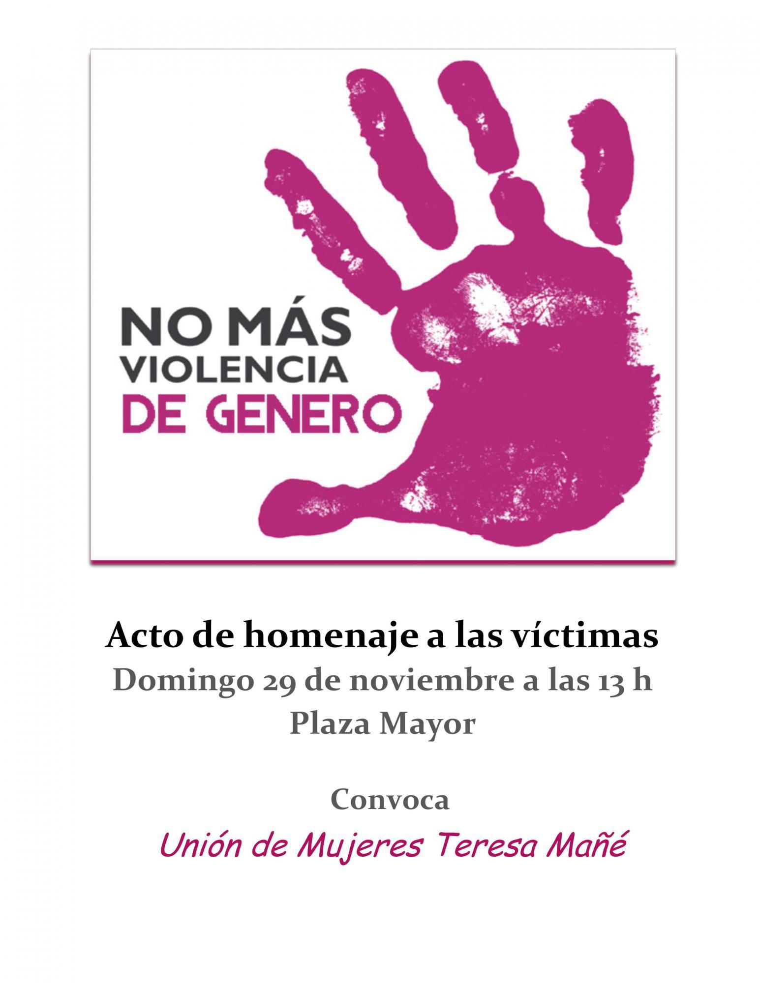 La Unión de Mujeres `Teresa Mañé´ organiza un homenaje a las víctimas de la violencia machista