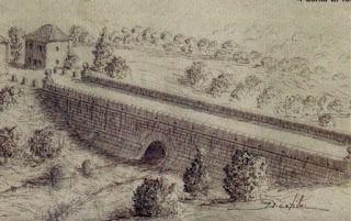 Grabado sobre el aspecto original del Puente del Tercio, hoy bajo las aguas del Embalse