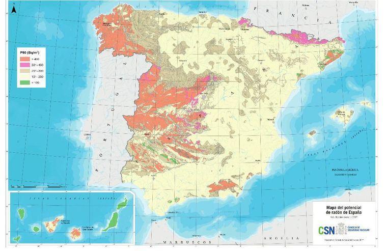 Cartografía del Potencial de radón en España / Consejo de Seguridad Nuclear