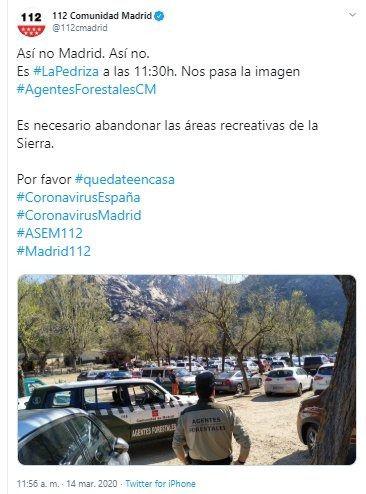 Llamamiento para que los madrileños no suban a las zonas recreativas de la Sierra, como La Pedriza o la Jarosa