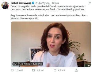 Mensaje difundido por la presidenta regional a través de su cuenta en Twitter