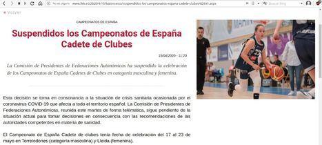 Suspendido el Campeonato de España Cadete de Baloncesto