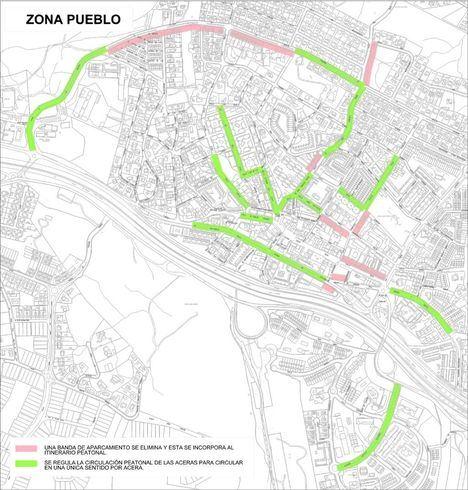Mapa con las peatonalizaciones previstas en el Pueblo