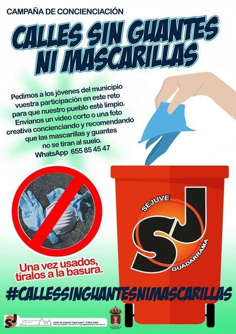 Los jóvenes de Guadarrama conciencian contra los guantes y mascarillas tirados en la calle
