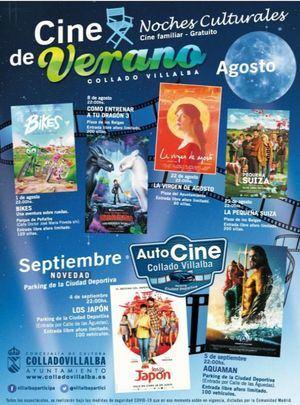 El Cine de Verano regresa a las plazas y parques de Collado Villalba en agosto