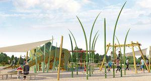Un gran dinosaurio de 4,2 metros decorará el nuevo parque infantil de El Montecillo, en Las Rozas