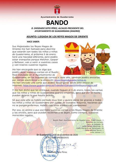 Los Reyes Magos recibirán por correo electrónico las cartas de los niños y niñas de Guadarrama