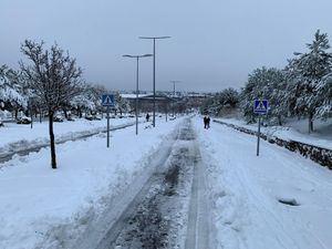 Las Rozas añade seis retroexcavadoras a los medios para retirar la gran cantidad de nieve acumulada