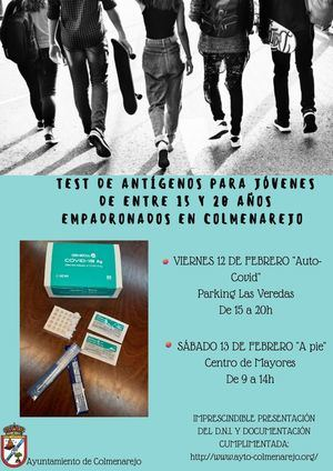 El Ayuntamiento de Colmenarejo realizará test de antígenos a jóvenes de entre 15 y 20 años