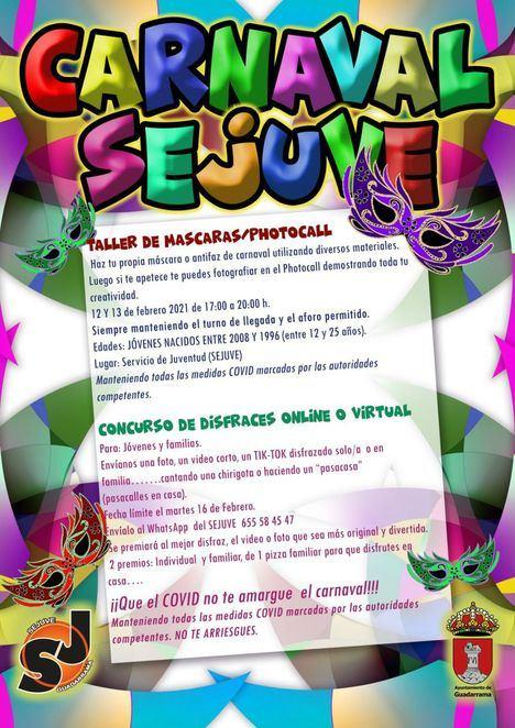 El Servicio de Juventud de Guadarrama propone un taller y un concurso on line para disfrutar del Carnaval