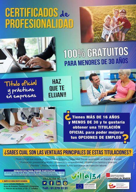 Collado Villalba abre la inscripción para obtener los Certificados de Profesionalidad, destinados a jóvenes