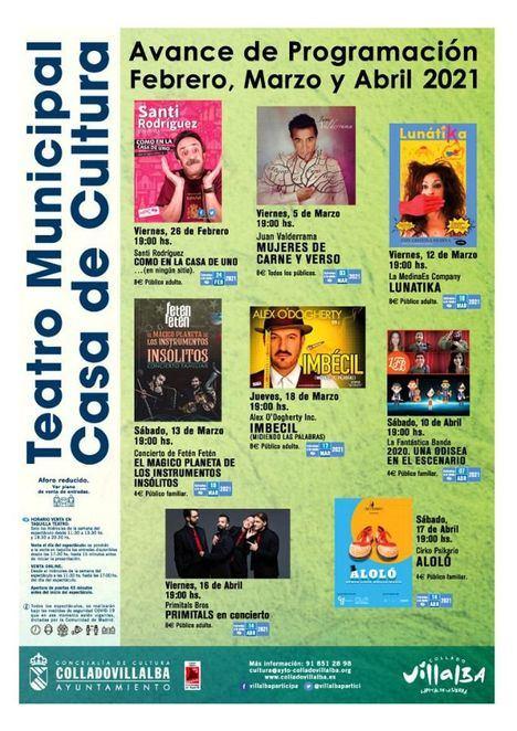 El Teatro de la Casa de Cultura de Collado Villalba presenta su programación de espectáculos hasta abril