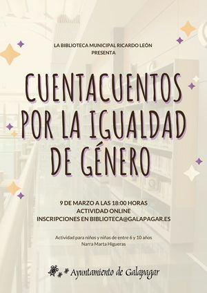 La Biblioteca de Galapagar organiza un cuentacuentos infantil por la igualdad de género