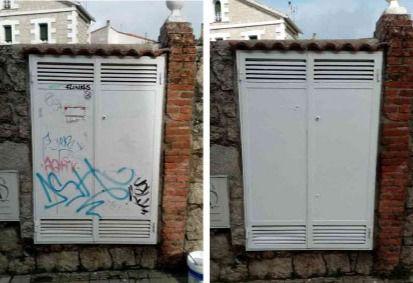 Hoyo de Manzanares contrata un servicio de limpieza de pintadas en edificios públicos