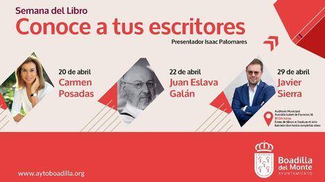 Carmen Posadas, Juan Eslava Galán y Javier Sierra impartirán conferencias durante la Semana del Libro en Boadilla