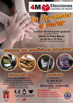 El Ayuntamiento de Guadarrama habilita un servicio de autobús para el traslado de los votantes en el 4M