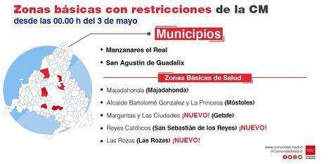 La Comunidad de Madrid confinará desde el 3 de mayo la zona básica de salud del centro de Las Rozas y levanta las restricciones a Moralzarzal