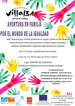 Abierto el plazo de inscripción en el taller 'Aventura en familia por el mundo de la Igualdad' de Collado Villalba