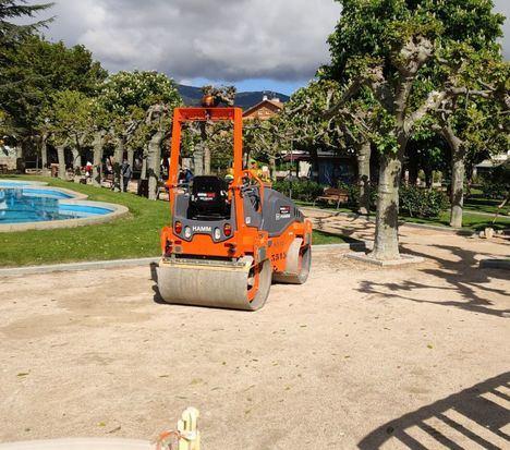 Comienzan las obras de pavimentación de los paseos del Parque Municipal de Guadarrama