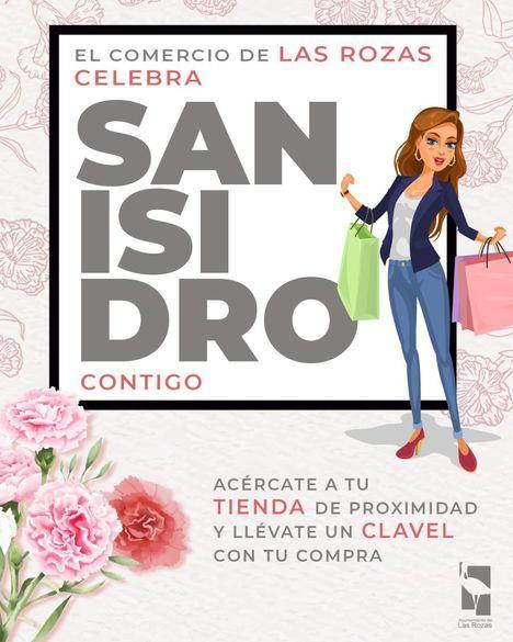 Claveles para los clientes de los comercios de Las Rozas por San Isidro