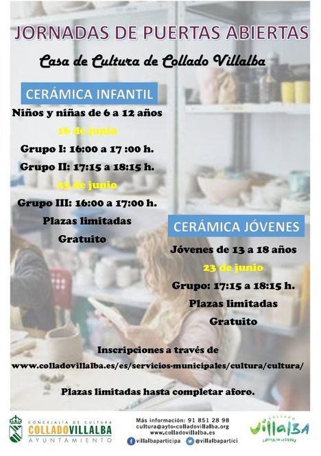 Puertas Abiertas para niños y jóvenes en los cursos de cerámica de la Casa de Cultura de Collado Villalba