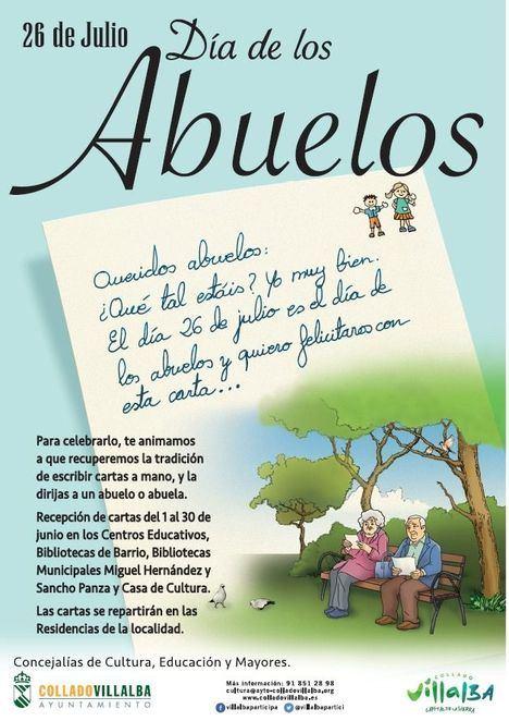 Cartas para los mayores: Collado Villalba invita a todos los niños y niñas del municipio a celebrar el Día de los Abuelos