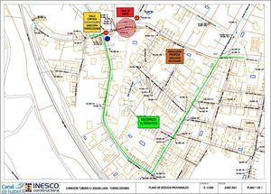 Mapa con los desvíos de tráfico previstos durante las obras