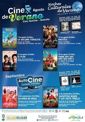 Durante el mes de agosto, regresa el Cine de Verano a Collado Villalba