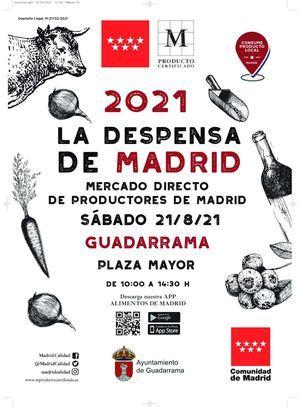El mercado itinerante La Despensa de Madrid vista la Plaza Mayor de Guadarrama este sábado
