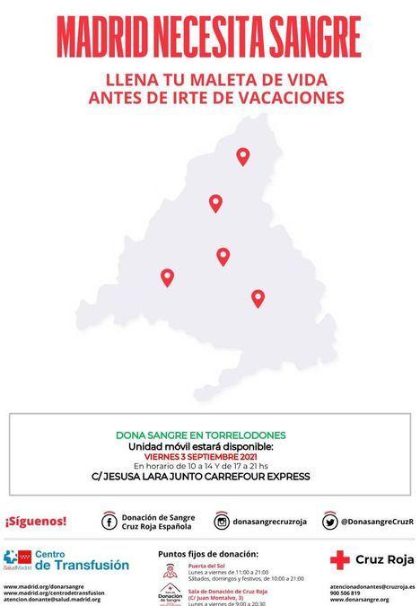 Una unidad de donación de sangre visitará Torrelodones el viernes 3 de septiembre