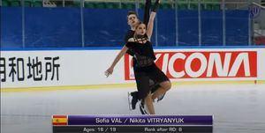 La patinadora de Torrelodones Sofía Val, sexta en su primera competición de Grand Prix tras cambiar de pareja
