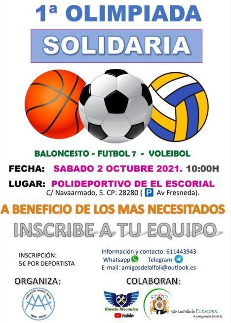 El Polideportivo de Navaarmado de El Escorial acoge este sábado la I Olimpiada Solidaria