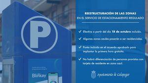 Galapagar reestructura las plazas de estacionamiento regulado y cambia plazas azules por verdes