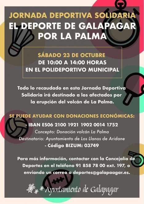 Galapagar organiza una Jornada Deportiva por La Palma para el sábado 23 de octubre