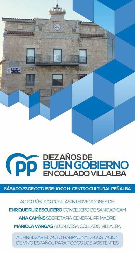 El PP de Collado Villalba celebra diez años en el Gobierno local con un acto este sábado