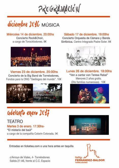 Programación Diciembre.Teatro Fernández-Baldor