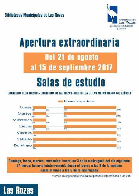 Las bibliotecas de Las Rozas amplían su horario de cara a los exámenes de septiembre