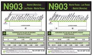 La línea N903 tendrá dos nuevas paradas en el barrio de El Torreón de Las Rozas