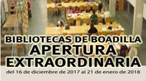 Apertura extraordinaria de las bibliotecas de Boadilla hasta el 21 de enero