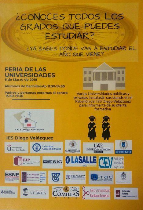 Feria de las Universidades en el Instituto Diego Velázquez