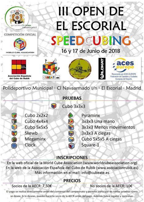 El Escorial celebrará en junio el III Open de Speedcubing