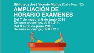 Apertura de la Biblioteca José de Vicente Muñoz por exámenes
