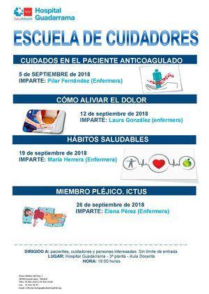 La Escuela de Cuidadores del Hospital Guadarrama recupera su actividad en septiembre