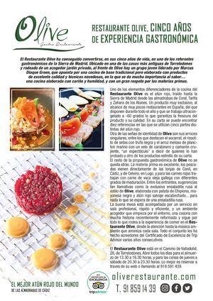 Restaurante Olive, cinco años de excelencia gastronómica