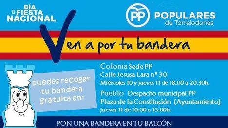 El PP reparte banderas con motivo del 12 de octubre